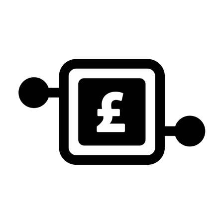 Digital pound money icon vector currency symbol for digital transactions for asset and wallet in a flat color glyph pictogram illustration Иллюстрация