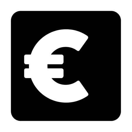 Euro sign icon vector currency symbol for business and finance in a flat color glyph pictogram illustration