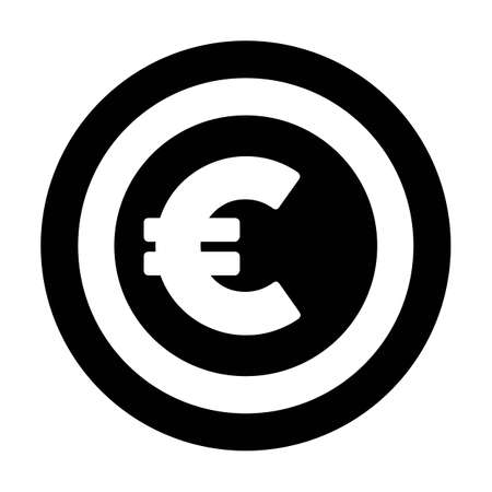 Euro icon vector currency symbol sign for for business and finance in a flat color glyph pictogram illustration Иллюстрация