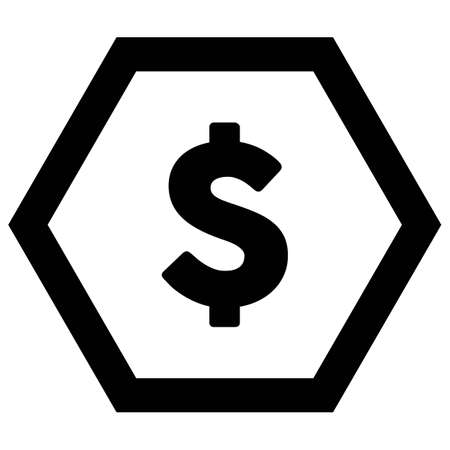 Dollar sign icon vector currency symbol for business and finance in a flat color glyph pictogram illustration