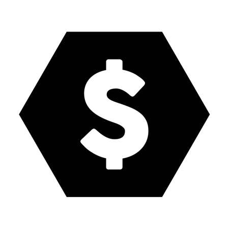 Dollar symbol icon vector currency sign for business and finance in a flat color glyph pictogram illustration