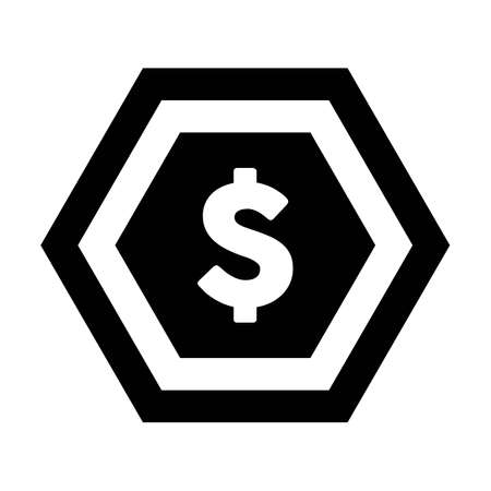 Dollar icon vector currency symbol sign for for business and finance in a flat color glyph pictogram illustration