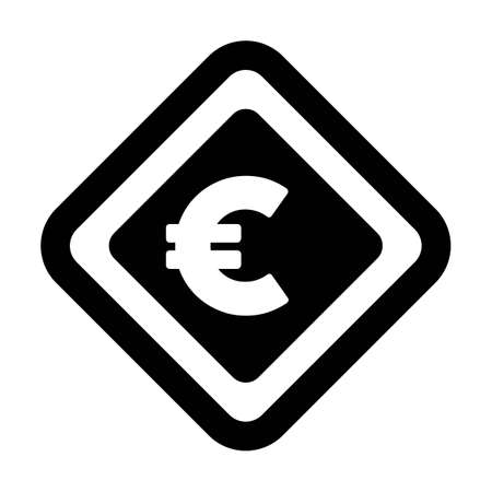 Currency Symbol icon vector Euro sign for business and finance in a flat color glyph pictogram illustration