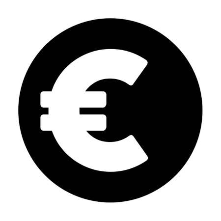 Euro symbol icon vector currency sign for business and finance in a flat color glyph pictogram illustration