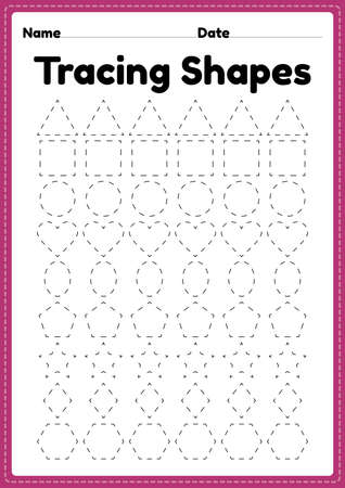 Tracing shapes worksheet for kindergarten and preschool kids for handwriting practice and educational activities in a printable page illustration.