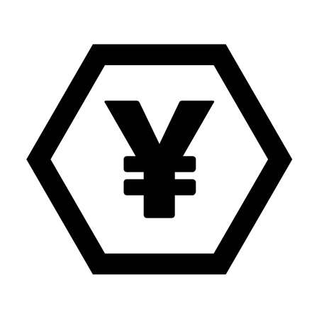 Yuan icon vector currency symbol sign for for business and finance in a flat color glyph pictogram illustration