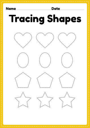 Tracing shapes worksheet for kindergarten and preschool kids for handwriting practice and educational activities in a printable page illustration. 版權商用圖片 - 167892909
