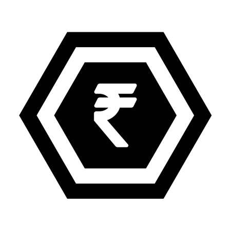 Rupee sign icon vector currency symbol for business and finance in a flat color glyph pictogram illustration