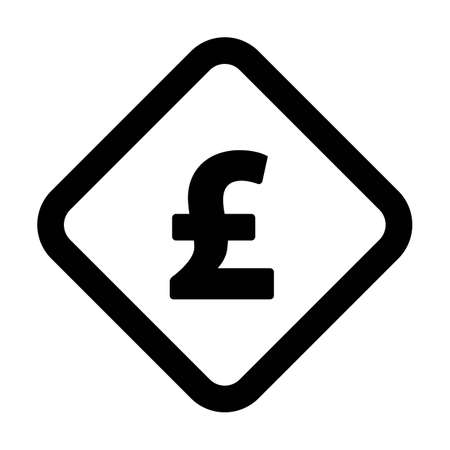 Pound symbol icon vector currency sign for business and finance in a flat color glyph pictogram illustration