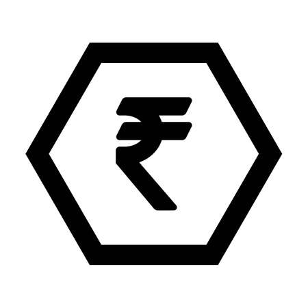 Rupee icon vector currency symbol sign for for business and finance in a flat color glyph pictogram illustration