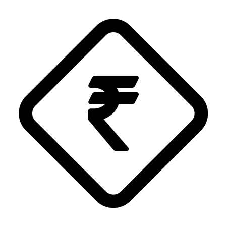 Rupee symbol icon vector currency sign for business and finance in a flat color glyph pictogram illustration