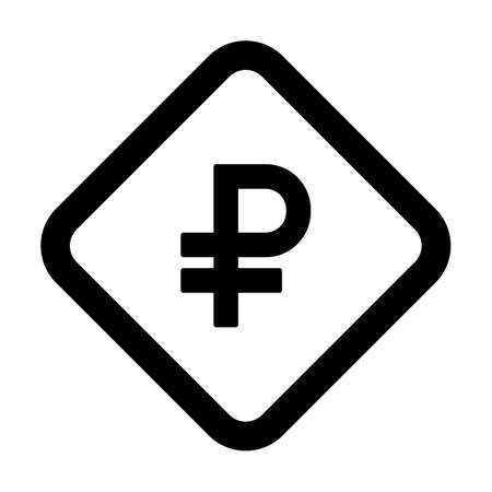 Ruble sign icon vector currency symbol for business and finance in a flat color glyph pictogram illustration