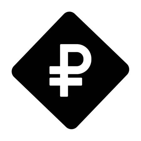Ruble symbol icon vector currency sign for business and finance in a flat color glyph pictogram illustration