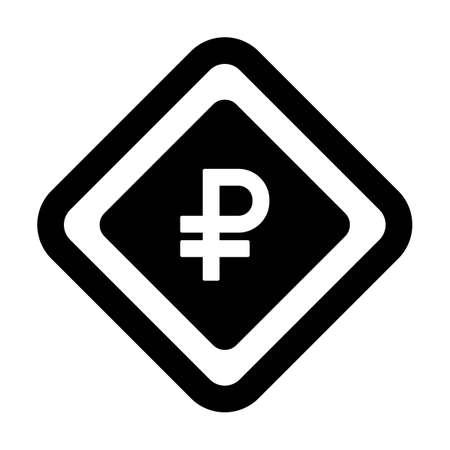 Ruble icon vector currency symbol sign for for business and finance in a flat color glyph pictogram illustration 向量圖像