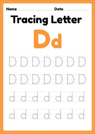 Tracing letter d alphabet worksheet for kindergarten and preschool kids for handwriting practice and educational activities in a printable page illustration.