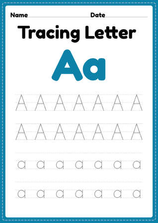 Tracing letter a alphabet worksheet for kindergarten and preschool kids for handwriting practice and educational activities in a printable page illustration. 向量圖像