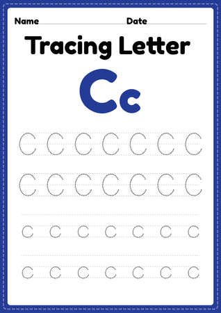 Tracing letter c alphabet worksheet for kindergarten and preschool kids for handwriting practice and educational activities in a printable page illustration.