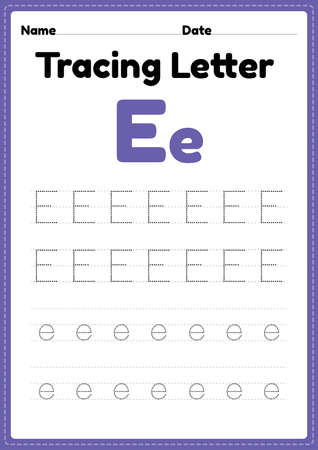 Tracing letter e alphabet worksheet for kindergarten and preschool kids for handwriting practice and educational activities in a printable page illustration.