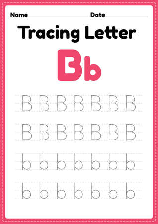Tracing letter b alphabet worksheet for kindergarten and preschool kids for handwriting practice and educational activities in a printable page illustration. 向量圖像