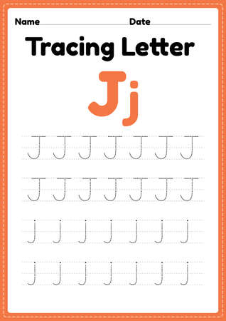 Tracing letter j alphabet worksheet for kindergarten and preschool kids for handwriting practice and educational activities in a printable page illustration.