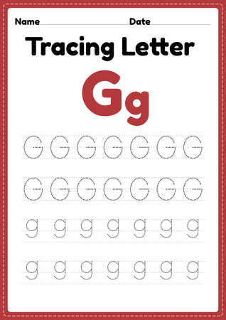 Tracing letter g alphabet worksheet for kindergarten and preschool kids for handwriting practice and educational activities in a printable page illustration. 向量圖像