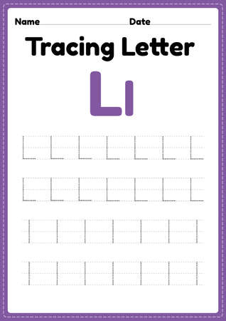 Tracing letter l alphabet worksheet for kindergarten and preschool kids for handwriting practice and educational activities in a printable page illustration.