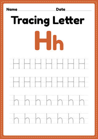 Tracing letter h alphabet worksheet for kindergarten and preschool kids for handwriting practice and educational activities in a printable page illustration.