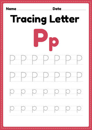 Tracing letter p alphabet worksheet for kindergarten and preschool kids for handwriting practice and educational activities in a printable page illustration. 向量圖像