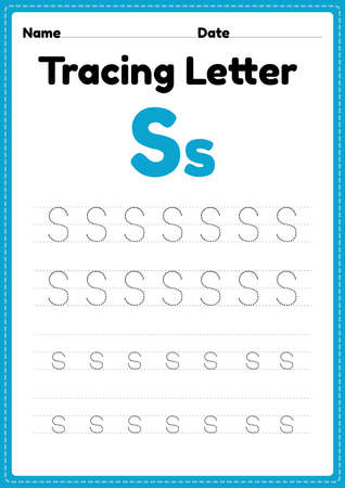 Tracing letter s alphabet worksheet for kindergarten and preschool kids for handwriting practice and educational activities in a printable page illustration. 向量圖像