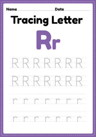 Tracing letter r alphabet worksheet for kindergarten and preschool kids for handwriting practice and educational activities in a printable page illustration. 向量圖像