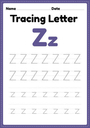 Tracing letter z alphabet worksheet for kindergarten and preschool kids for handwriting practice and educational activities in a printable page illustration. 向量圖像