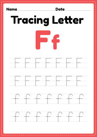 Tracing letter f alphabet worksheet for kindergarten and preschool kids for handwriting practice and educational activities in a printable page illustration. 版權商用圖片 - 168377097