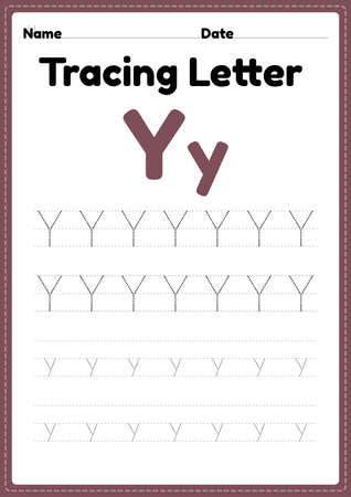 Tracing letter y alphabet worksheet for kindergarten and preschool kids for handwriting practice and educational activities in a printable page illustration.