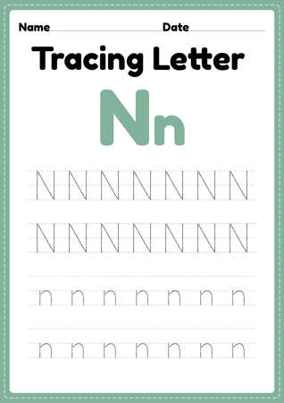 Tracing letter n alphabet worksheet for kindergarten and preschool kids for handwriting practice and educational activities in a printable page illustration. 向量圖像