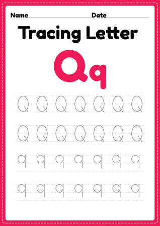 Tracing letter q alphabet worksheet for kindergarten and preschool kids for handwriting practice and educational activities in a printable page illustration. 向量圖像