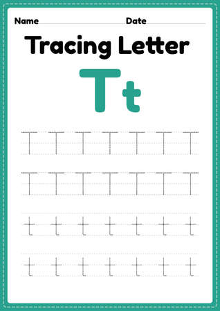 Tracing letter t alphabet worksheet for kindergarten and preschool kids for handwriting practice and educational activities in a printable page illustration.