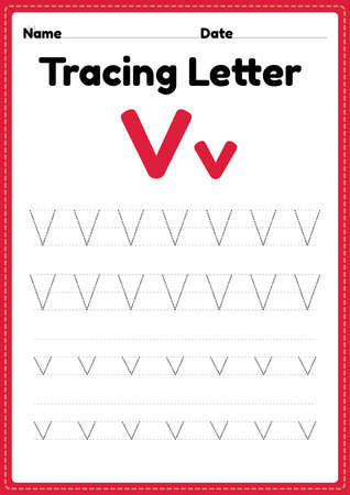 Tracing letter v alphabet worksheet for kindergarten and preschool kids for handwriting practice and educational activities in a printable page illustration.