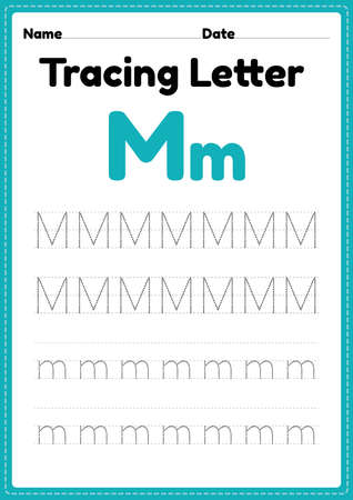Tracing letter m alphabet worksheet for kindergarten and preschool kids for handwriting practice and educational activities in a printable page illustration.