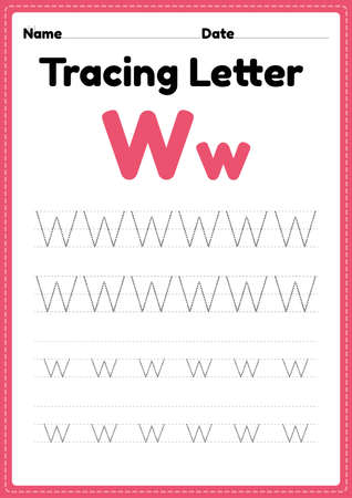 Tracing letter w alphabet worksheet for kindergarten and preschool kids for handwriting practice and educational activities in a printable page illustration.