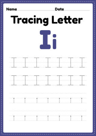 Tracing letter i alphabet worksheet for kindergarten and preschool kids for handwriting practice and educational activities in a printable page illustration.