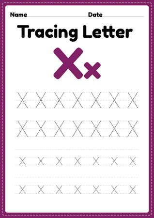 Tracing letter x alphabet worksheet for kindergarten and preschool kids for handwriting practice and educational activities in a printable page illustration.