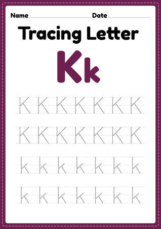 Tracing letter k alphabet worksheet for kindergarten and preschool kids for handwriting practice and educational activities in a printable page illustration.