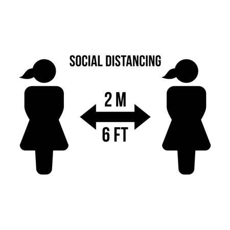 Social distancing icon vector symbol of keep safe distance sign in a glyph pictogram illustration 向量圖像