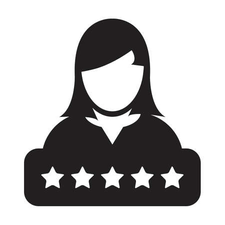 Social score icon 5 star rating vector female user person profile avatar symbol for in a glyph pictogram illustration 向量圖像