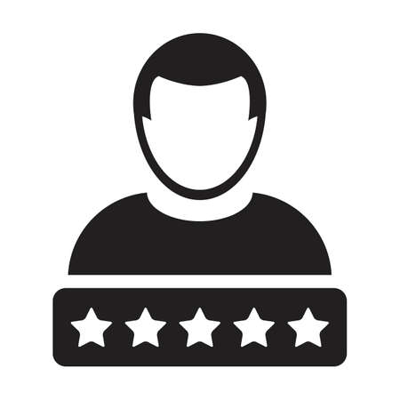 Social credit icon 5 star rating vector male user person profile avatar symbol for in a glyph pictogram illustration 向量圖像