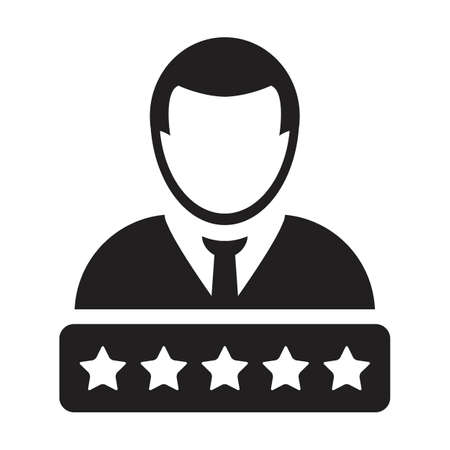 5 Star rating icon for social credit score system vector male user person profile avatar symbol for in a glyph pictogram illustration 向量圖像