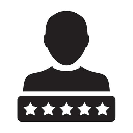 Star rating icon for social credit system vector male user person profile avatar symbol for in a glyph pictogram illustration