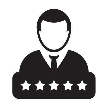5 Star rating icon for social credit system vector male user person profile avatar symbol for in a glyph pictogram illustration