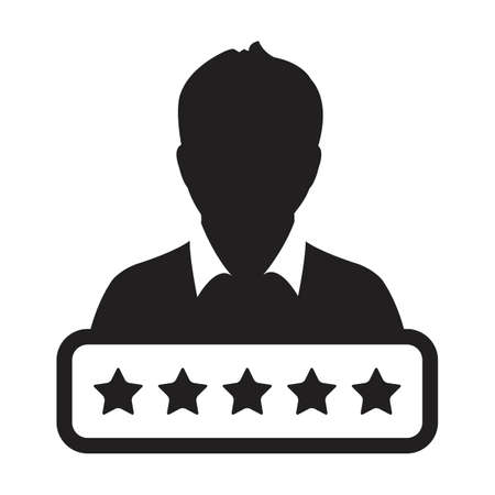 Social credit score icon 5 star rating vector male user person profile avatar symbol for in a glyph pictogram illustration