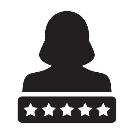 Social credit icon 5 star rating vector female user person profile avatar symbol for in a glyph pictogram illustration